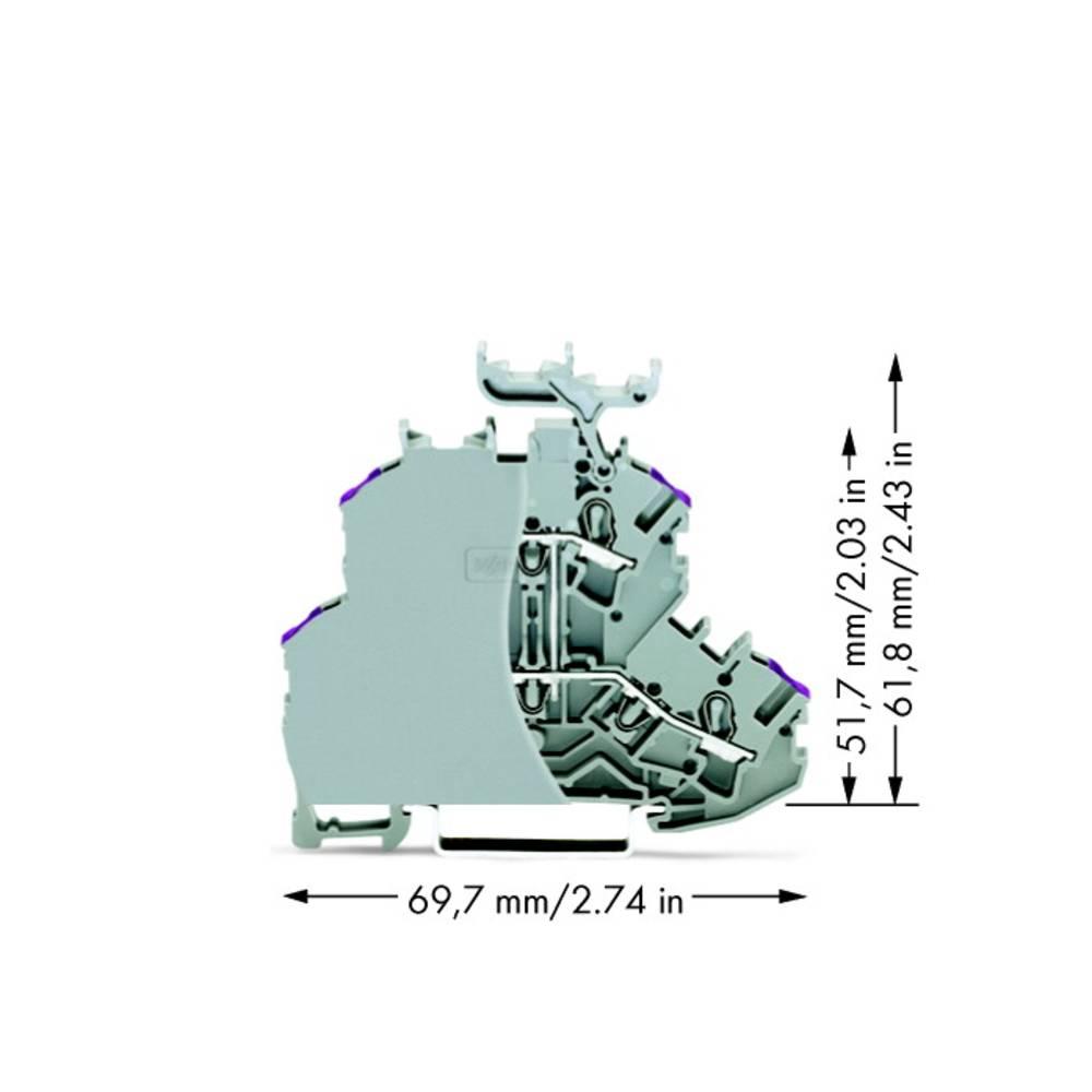 Dobbeltlags-gennemgangsklemme 4.20 mm Trækfjeder Belægning: L Grå WAGO 2002-2238/099-000 50 stk