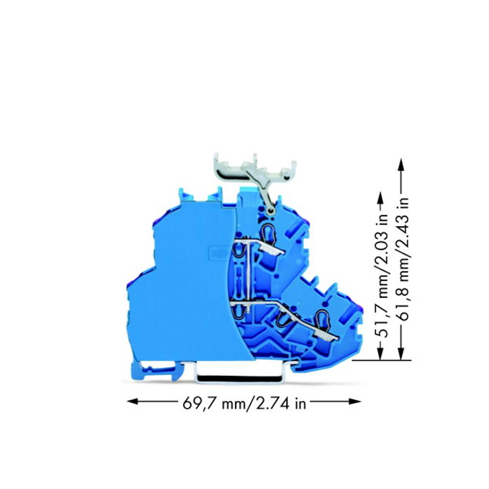 Dobbeltlags-gennemgangsklemme 4.20 mm Trækfjeder Belægning: N Blå WAGO 2002-2239/099-000 50 stk