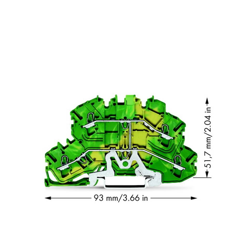 Dobbeltlags-beskyttelseslederklemme 5.20 mm Trækfjeder Belægning: Terre Grøn-gul WAGO 2002-2607 50 stk