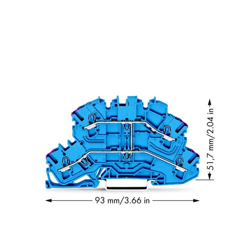 Dobbeltlags-gennemgangsklemme 5.20 mm Trækfjeder Belægning: N Blå WAGO 2002-2609 50 stk
