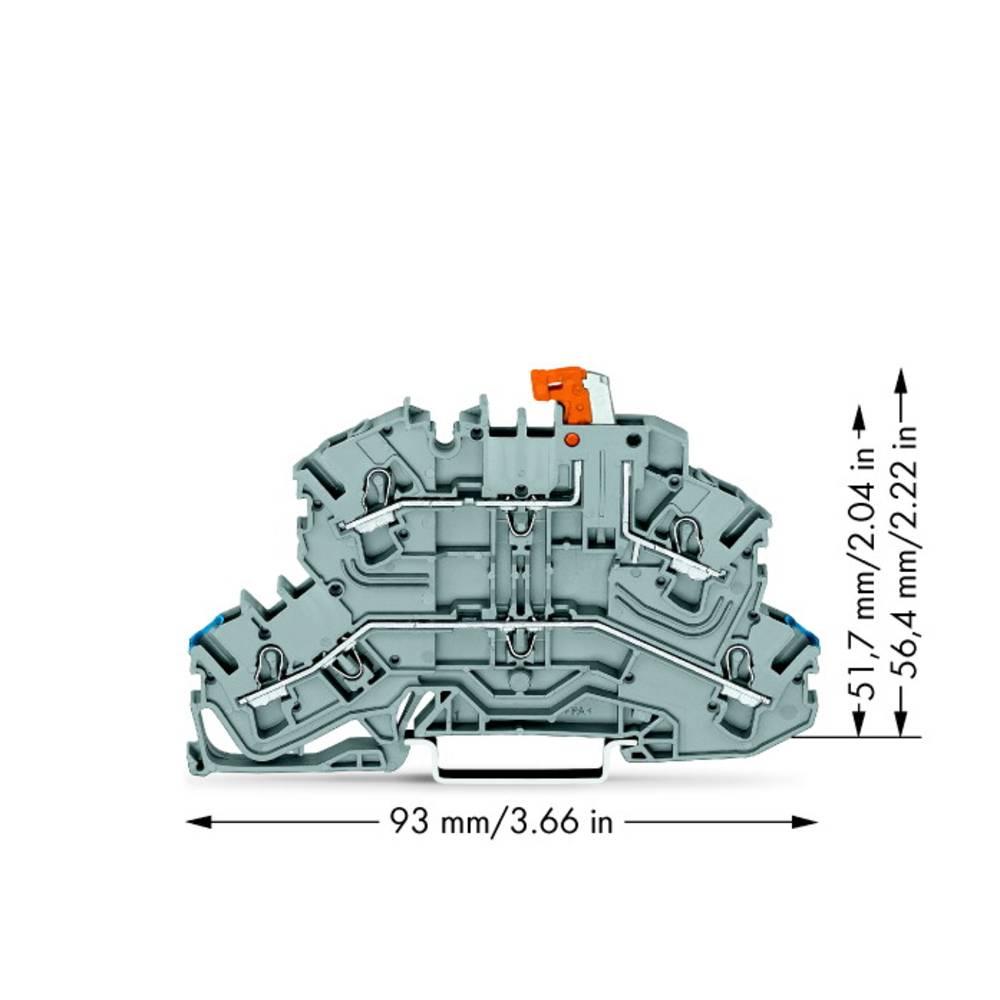 Skilleklemme 5.20 mm Trækfjeder Belægning: N, L Grå WAGO 2002-2672 25 stk