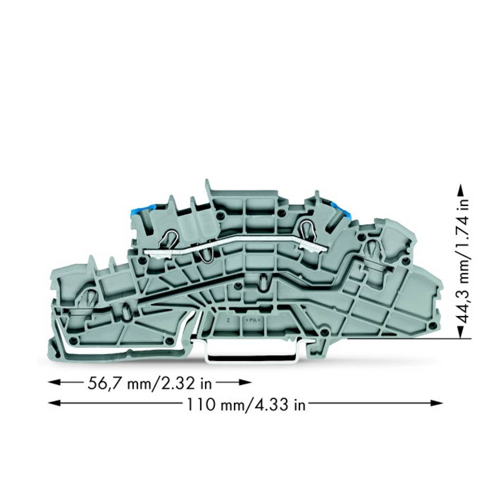 installations-etageklemme 5.20 mm Trækfjeder Belægning: N Grå WAGO 2003-6651 50 stk