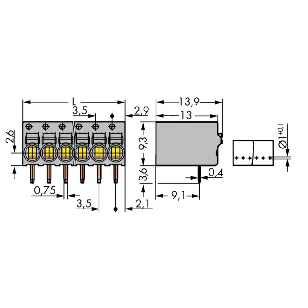 Fjederkraftsklemmeblok WAGO 1 mm² Poltal 3 Grå 230 stk