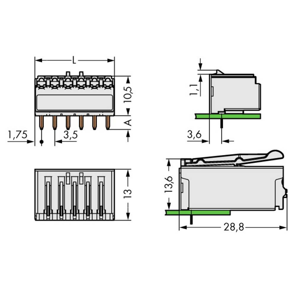 Stiftkabinet-printplade 2091 (value.1360705) Samlet antal poler 8 WAGO 2091-1328 Rastermål: 3.50 mm 100 stk