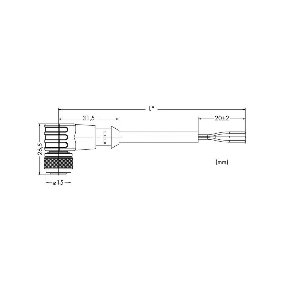 4-polna M12 kotna vtičnica z odprtim koncem 5 m 756-5302/040-050 WAGO vsebuje: 10 kosov
