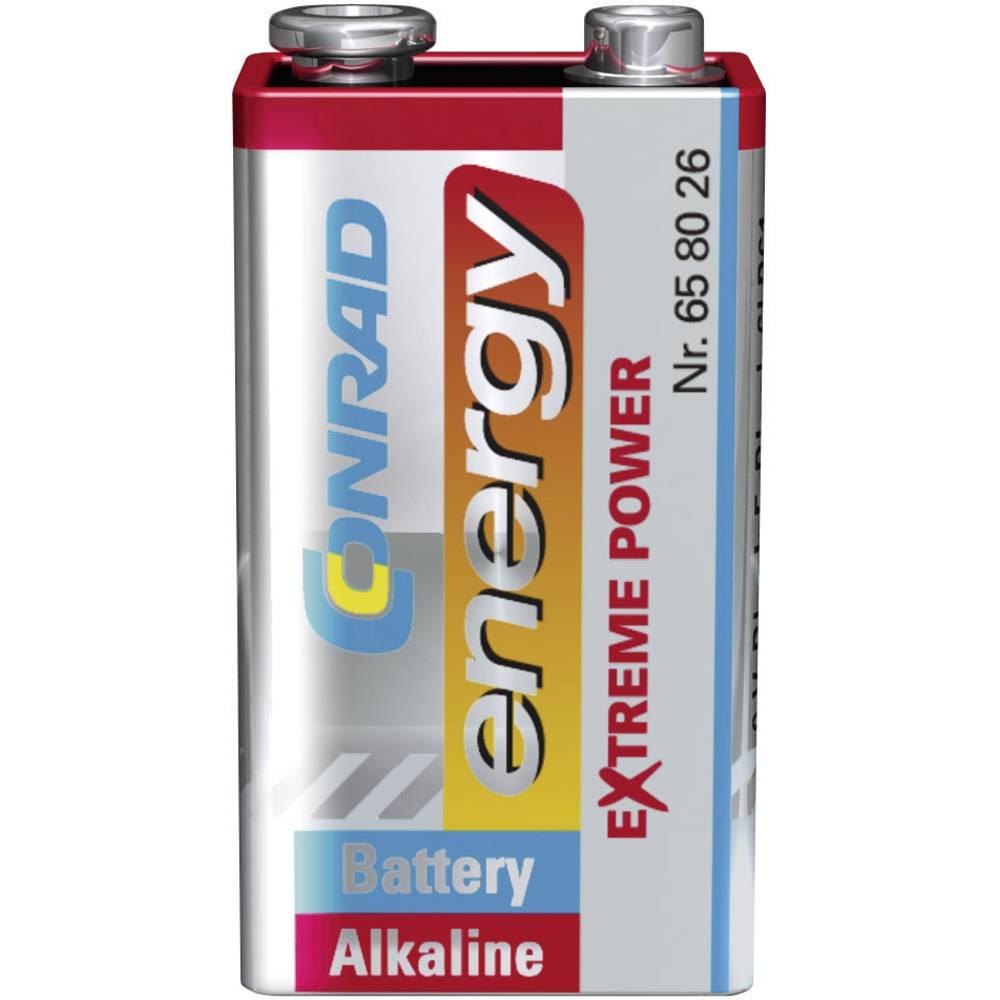 9 V-blokbatteri Alkali-mangan Conrad energy Extreme Power 6LR61 9 V 1 stk