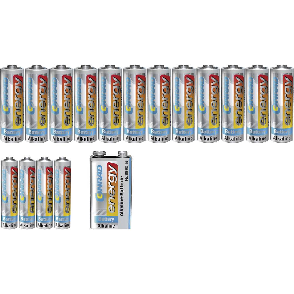 Komplet alkalnih baterija Conrad energy 4x AAA, 12x AA 12x Mignon, 4x Mikro, 9V, blok