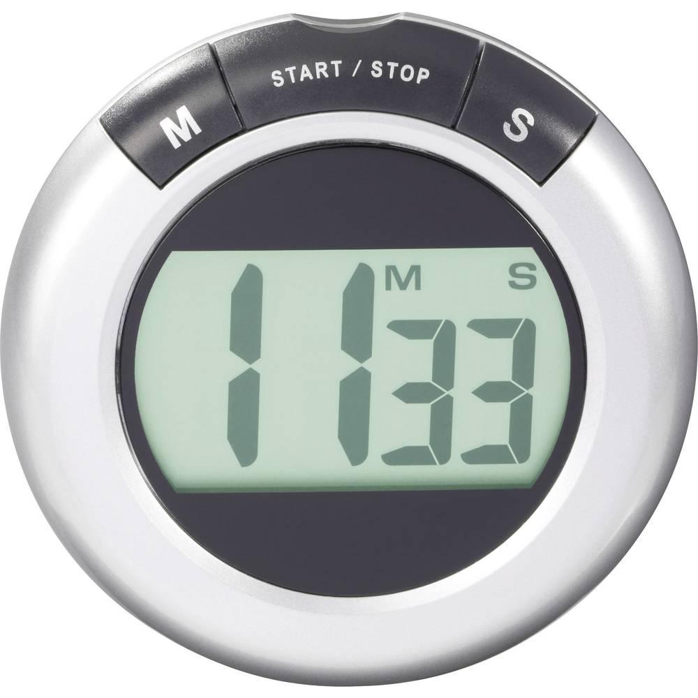 LCD mjerač vremena KW-9058 (Ø x D) 80 mm x 20 mm srebrni Conrad