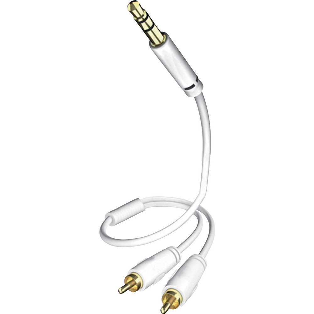 Inakustik-Činč/JACK audio kabel [2x činč vtič - 1x JACK vtič 3.5mm] 0.75m, bel, pozlačeni kontakti vtiča 0031000075