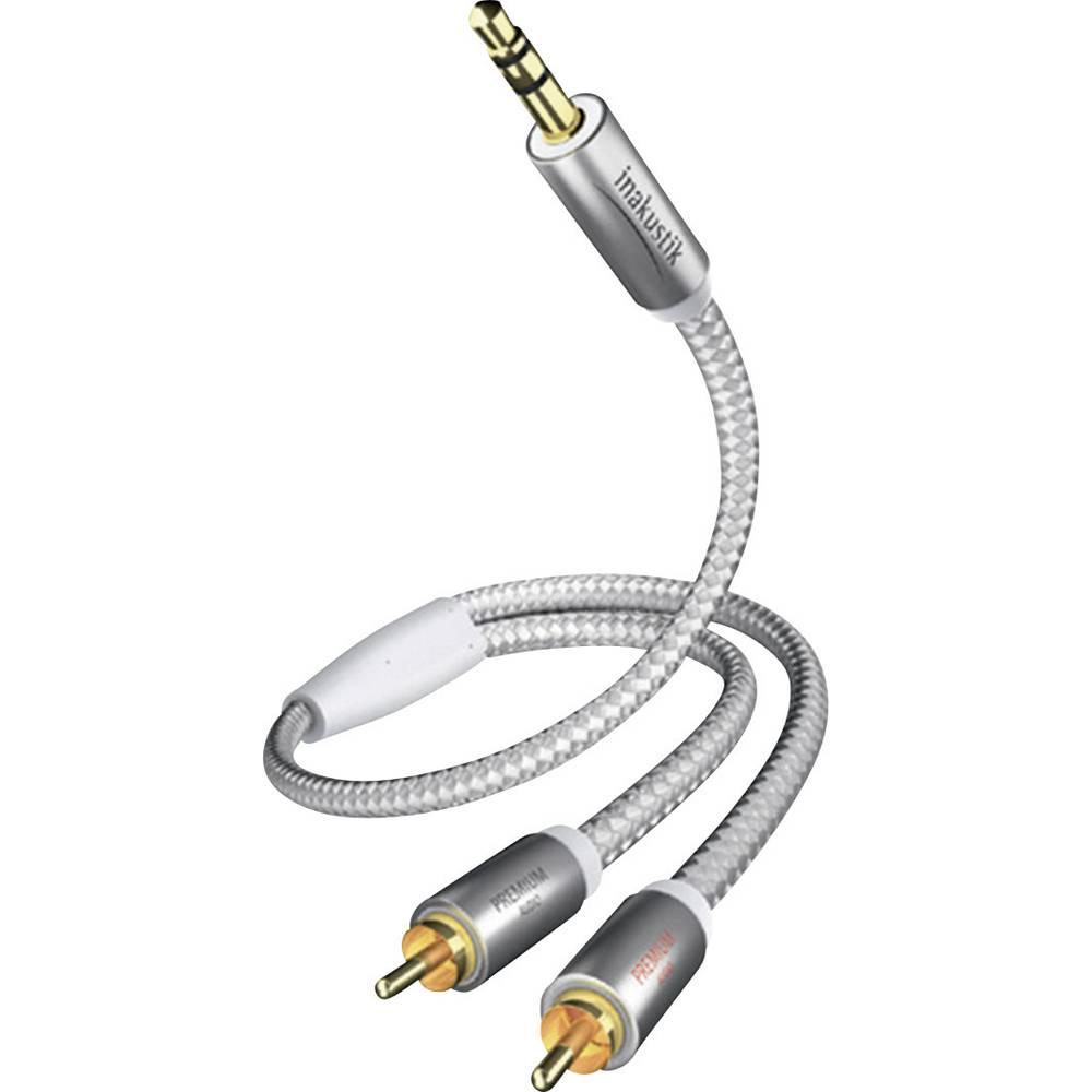 Inakustik-Činč/JACK audio kabel [2x činč vtič - 1x JACK vtič 3.5mm] 3m, bel/srebrn, pozlačeni kontakti vtiča 00410003