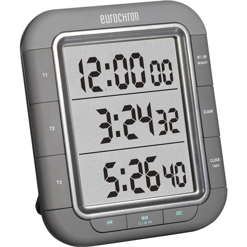 Mjerač vremena s 3 retka EDT 9000 (Š x V x D) 103 x 121 x 20 mm crni KW-9161 Eurochron