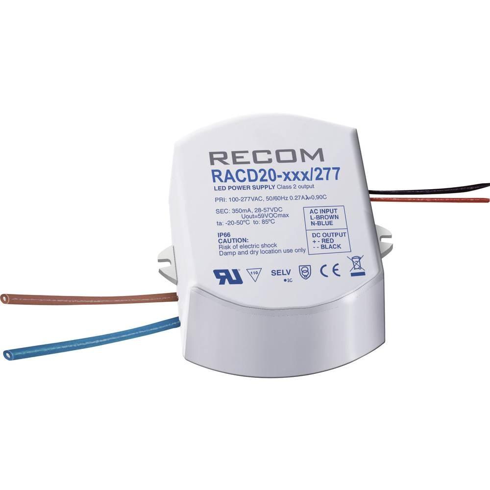 Konstant LED-strømkilde 20 W 1050 mA 19 V/DC Recom Lighting RACD20-1050/277 Driftsspænding maks.: 277 V/AC