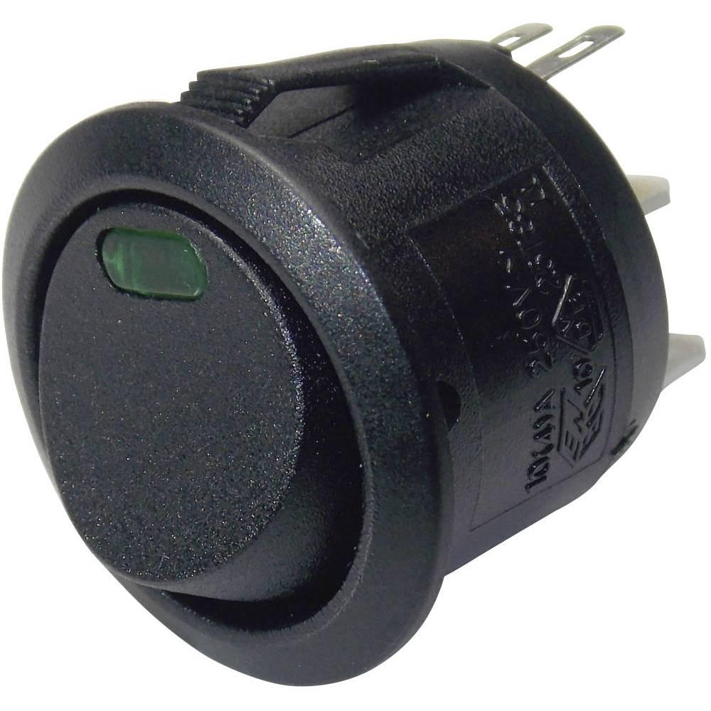 klecno stikalo, okroglo R13-112L B/B GREEN 3V 1-polni vklop/izklop 250 V/AC 6 A