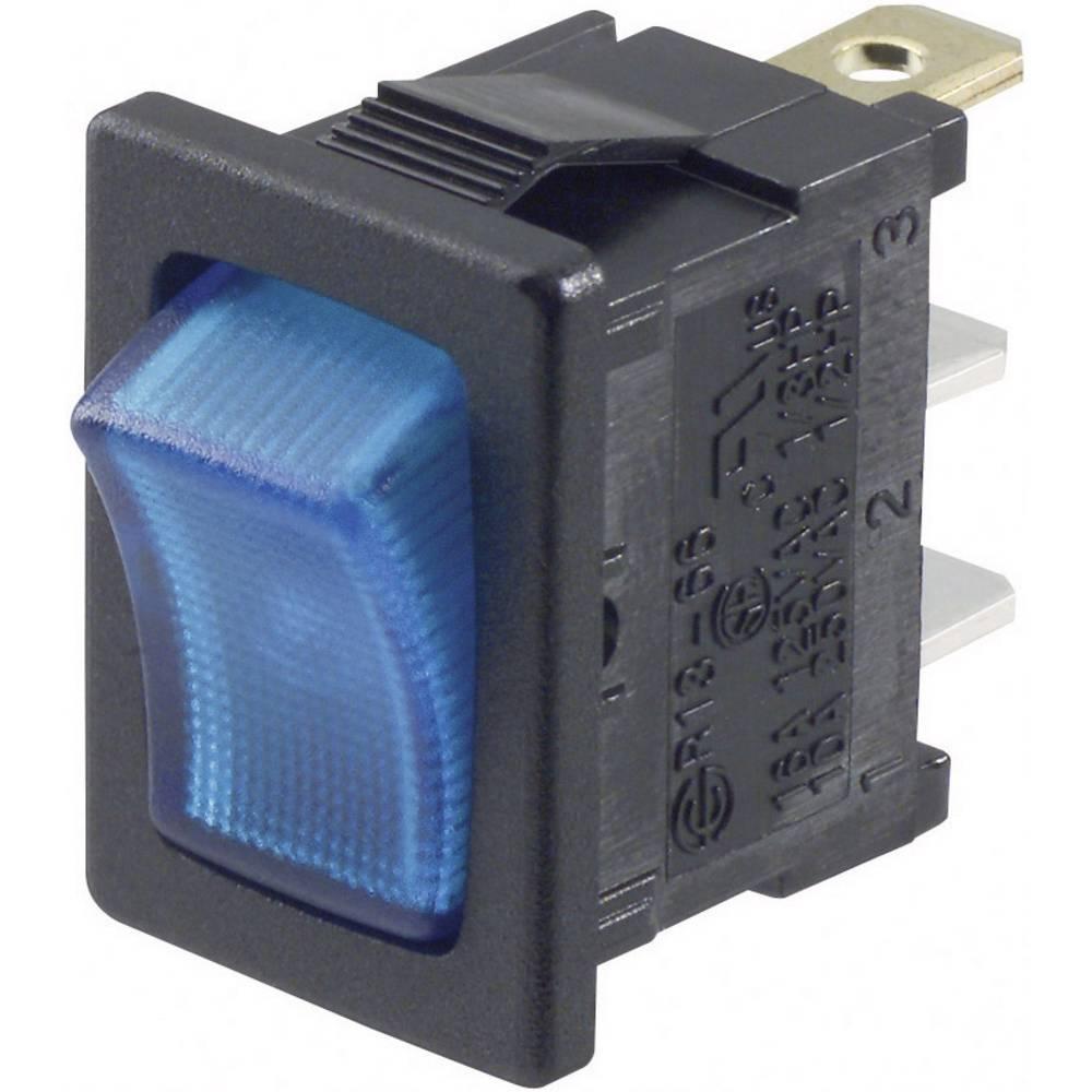 SCI Klecno stikalo, R13-66B-02 modra LED 12 V vklop/izklop zaskočno/zaskočno250 V/AC 6 A