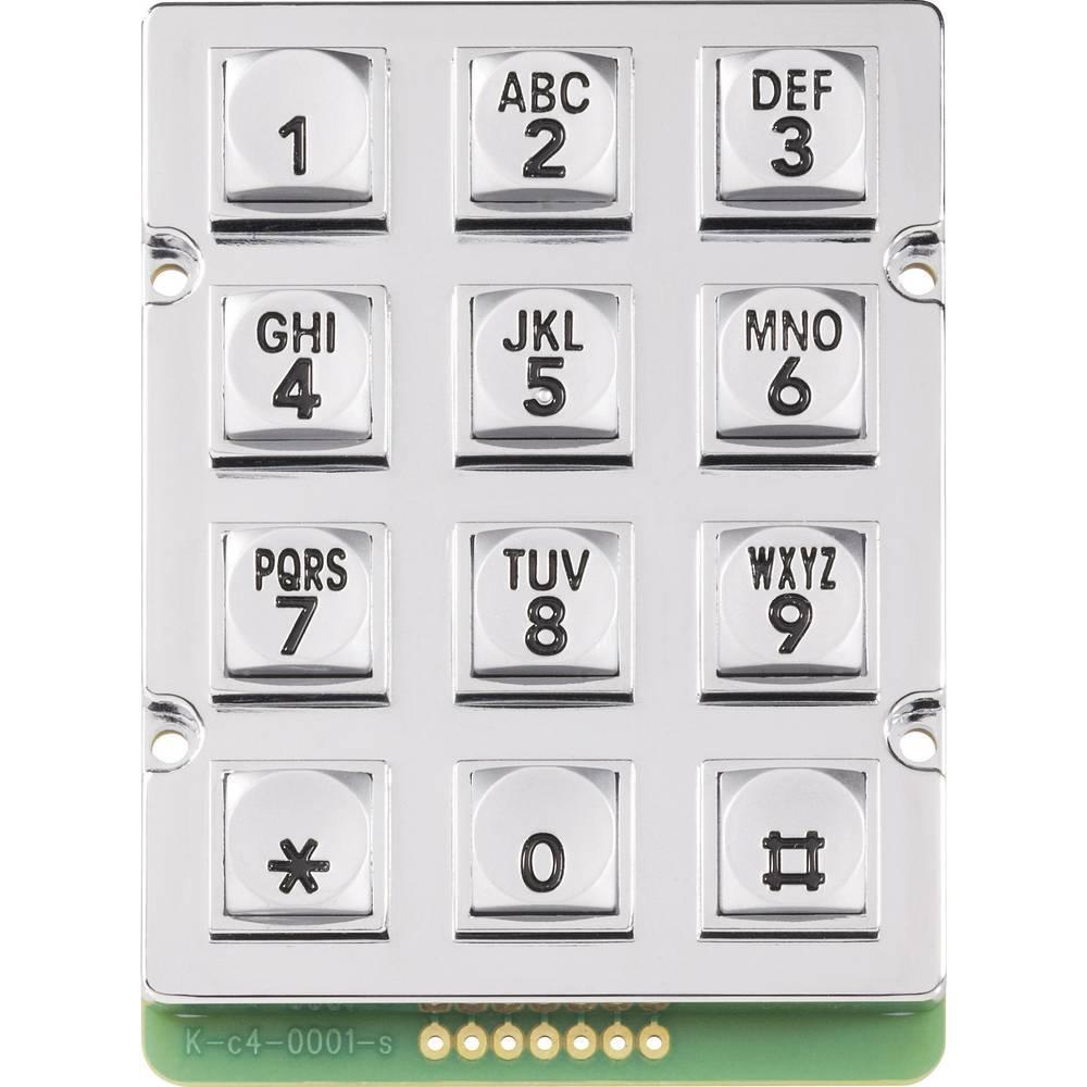 Kovinska tipkovnica 0031-010A-1P Matrix 3 x 4 obremenitev kontakta 5 mA
