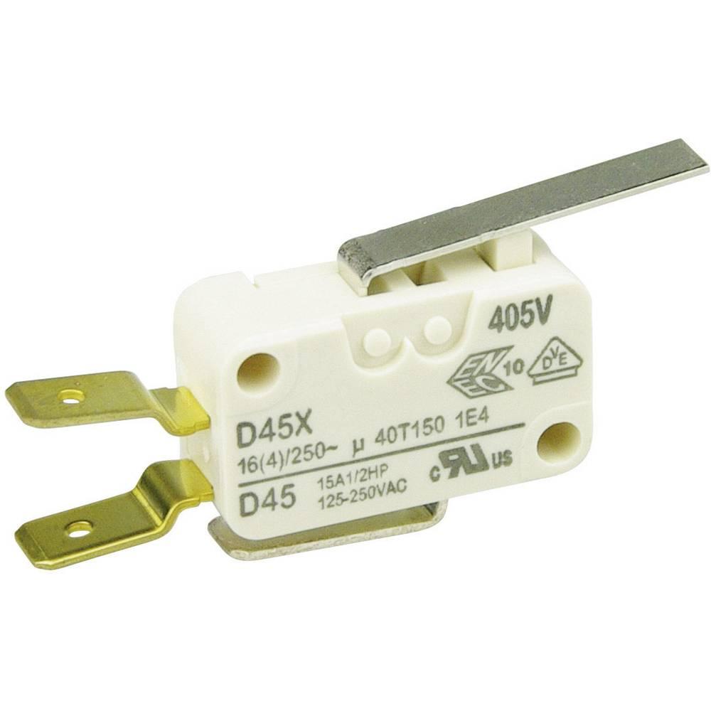 Cherry Miniaturno stikalo D4 250 V/AC D45U-V3LD, 1 preklopni kontakt, ploščati vtič 6,3 x Cherry Switches