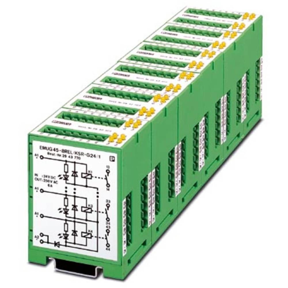 Relaisbaustein (value.1292895) 5 stk Phoenix Contact EMUG 45- 8REL/KSR-G 24/ 1 Nominel spænding: 24 V/DC Brydestrøm (max.): 6 A