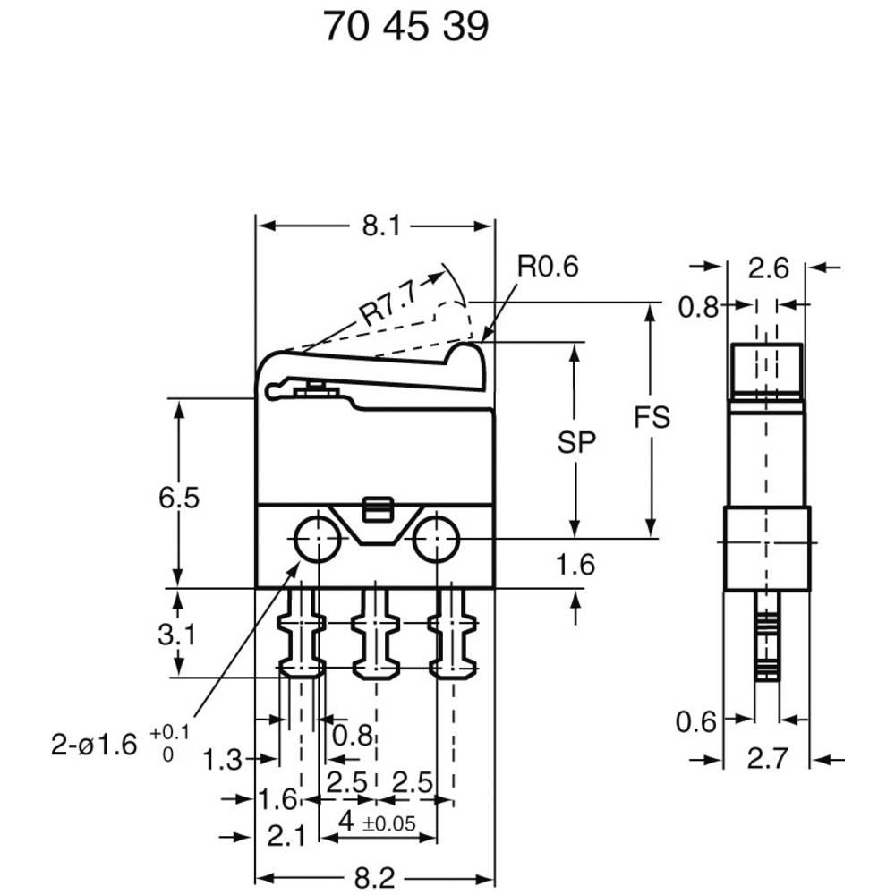 SubMiniaturni mikroprekidač 30V/DC SM-001 1 preklopni kontakt za lemljenje SSM-001