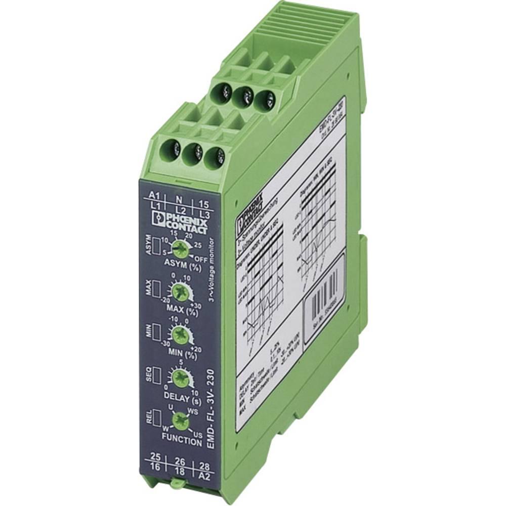Nadzorni rele 2 izmenjevalnika 1 kos Phoenix Contact EMD-FL-3V-230 3-fazni, napetostni, asimetrija, podtokovni, fazni izpad, , o