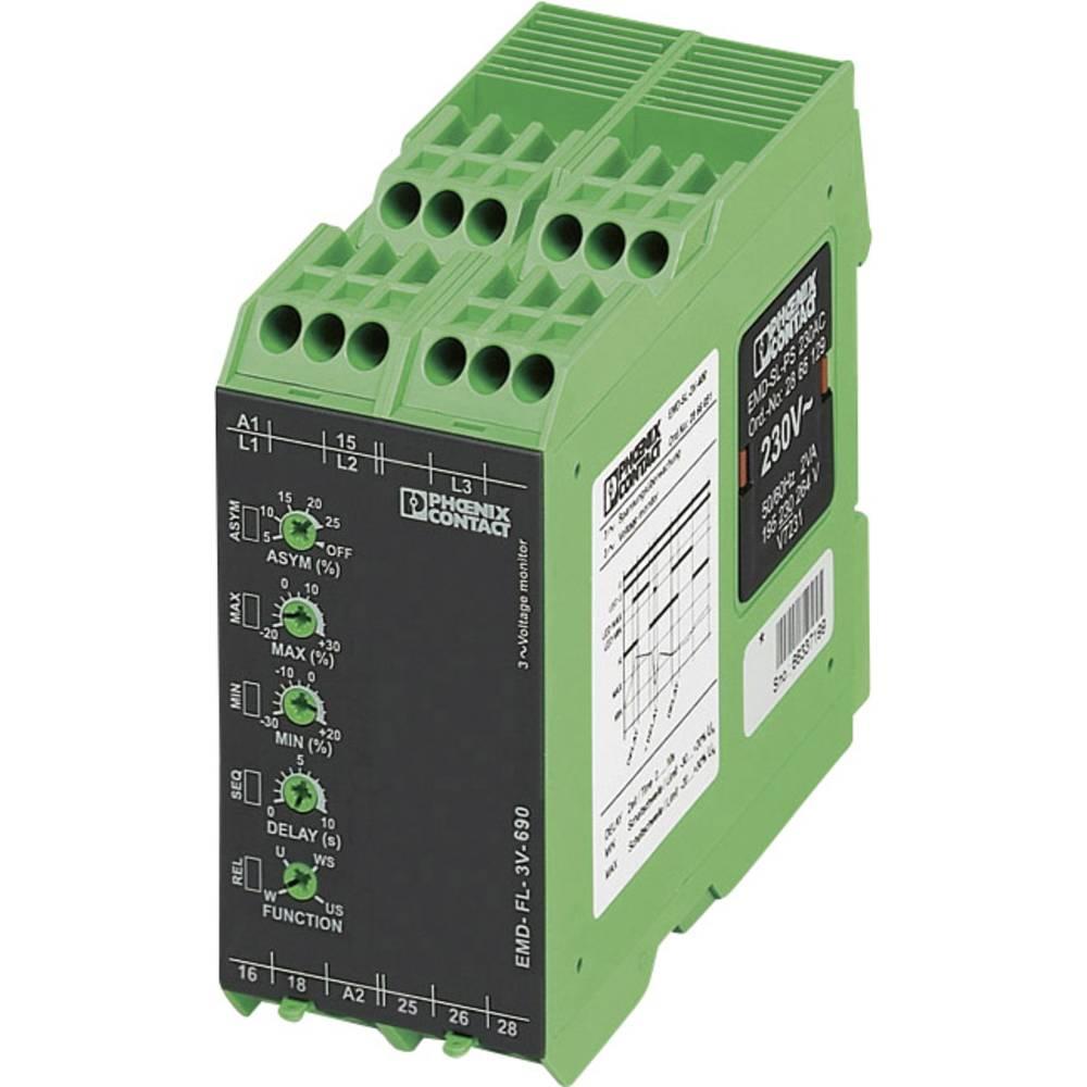Overvågningsrelæer 2 x omskifter 1 stk Phoenix Contact EMD-FL-3V-690 3-fase, Spænding, Asymmetri, Underspænding, Faseudfald, Fas