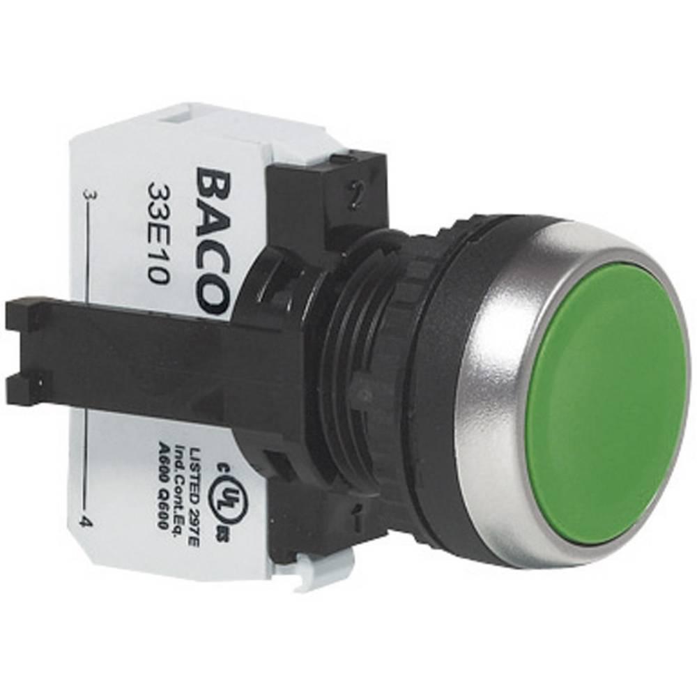 Pritisno tipkalo BACO L21AA01B, ploščato, tipkalno, 600 V, 10 A, kromiran obroč, rdeče BAL21AA01B