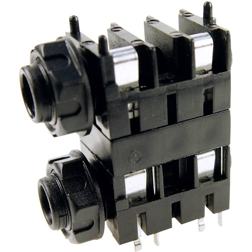 Cliff FCR1120-Priključna doza za JACK vtič, 6.35mm, vgrajena horizontalno, število polov: 2/mono , črna, 1 kos