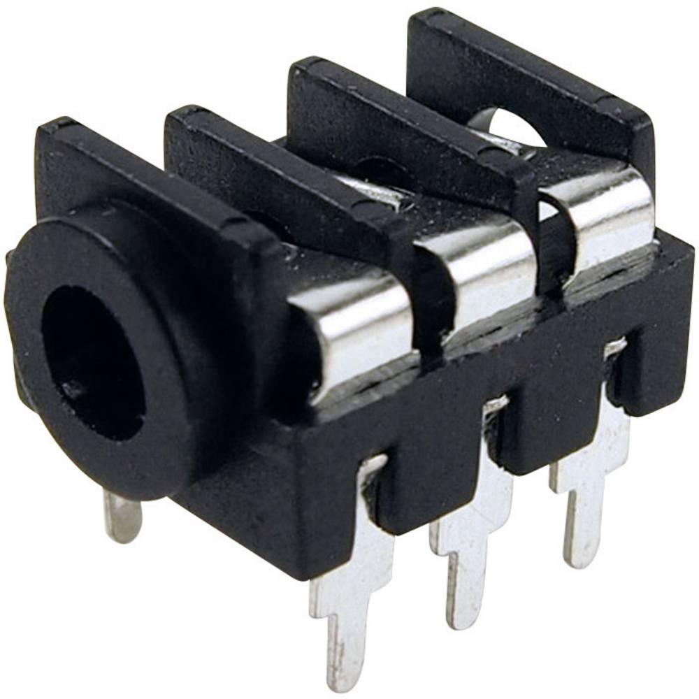 Cliff FCR1295-Priključna doza za JACK vtič, 3.5mm, vgrajena horizontalno, število polov: 3/stereo , črna, 1 kos