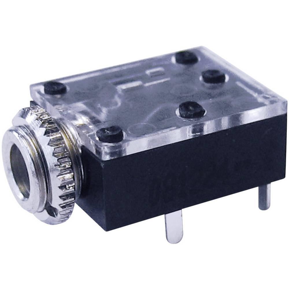 Cliff FT6320-Priključna doza za JACK vtič, 3.5mm, vgrajena horizontalno, število polov: 3/stereo , črna, 1 kos