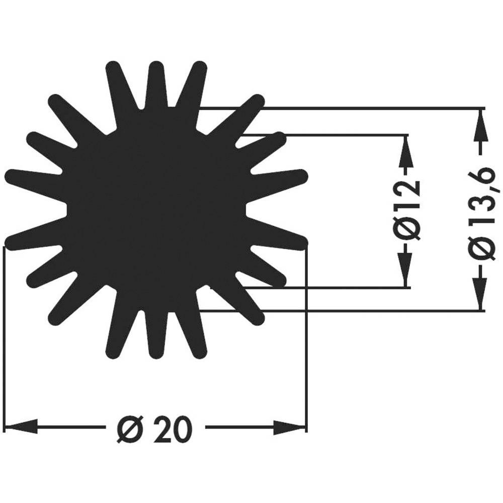 LED-kølelegemer 5.8 K/W (Ø x H) 20 mm x 20 mm Fischer Elektronik SK 585 20 SA