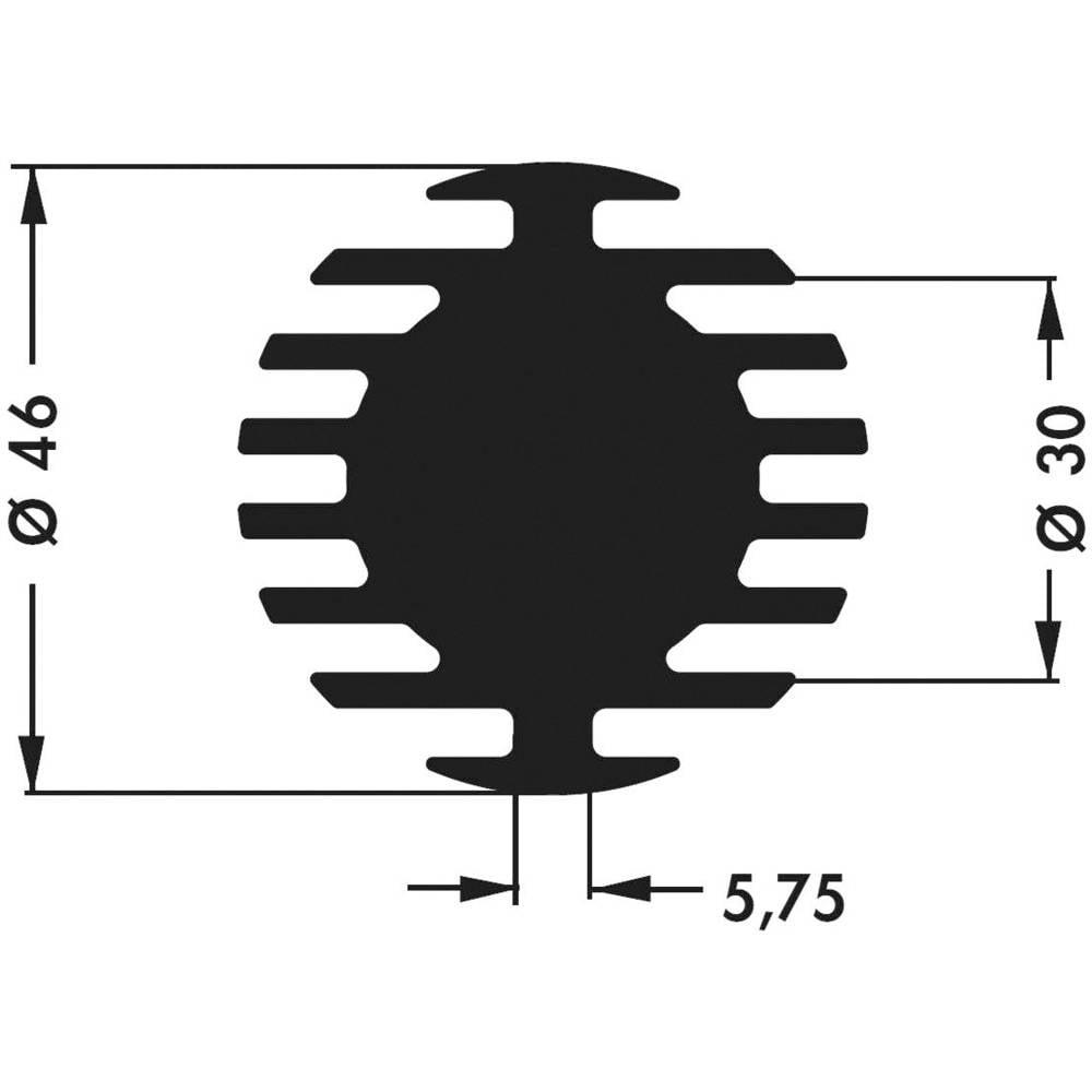 LED hladilno telo 3.75 K/W (premer x V) 46 mm x 20 mm Fischer Elektronik SK 598 20 SA