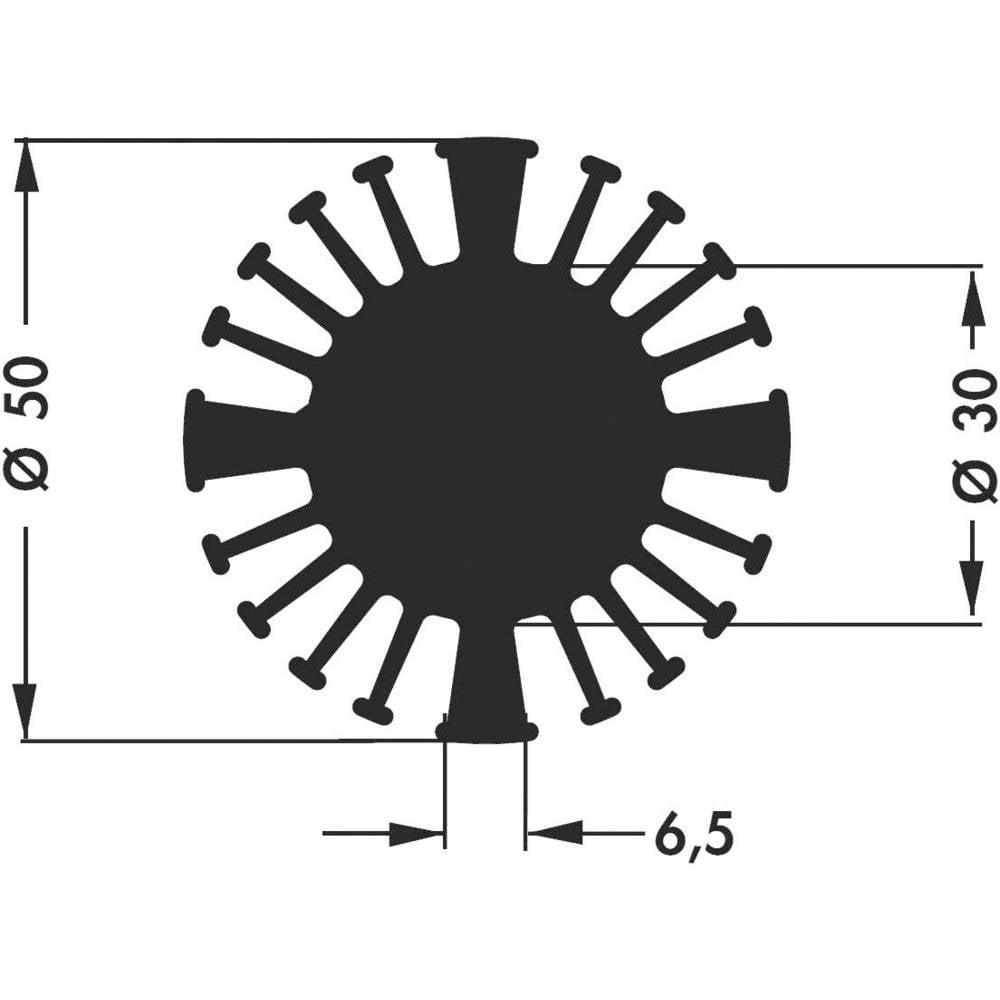 LED hladilno telo 2.4 K/W (premer x V) 50 mm x 20 mm Fischer Elektronik SK 602 20 SA