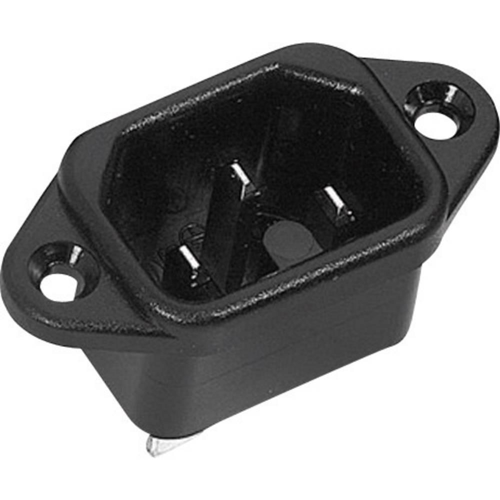 IEC-kontakt 42R Series (Nätanslutning) 42R Kontakt hane inbyggd vertikal Antal poler: 2 + PE 10 A Svart K & B 42R021112 1 st