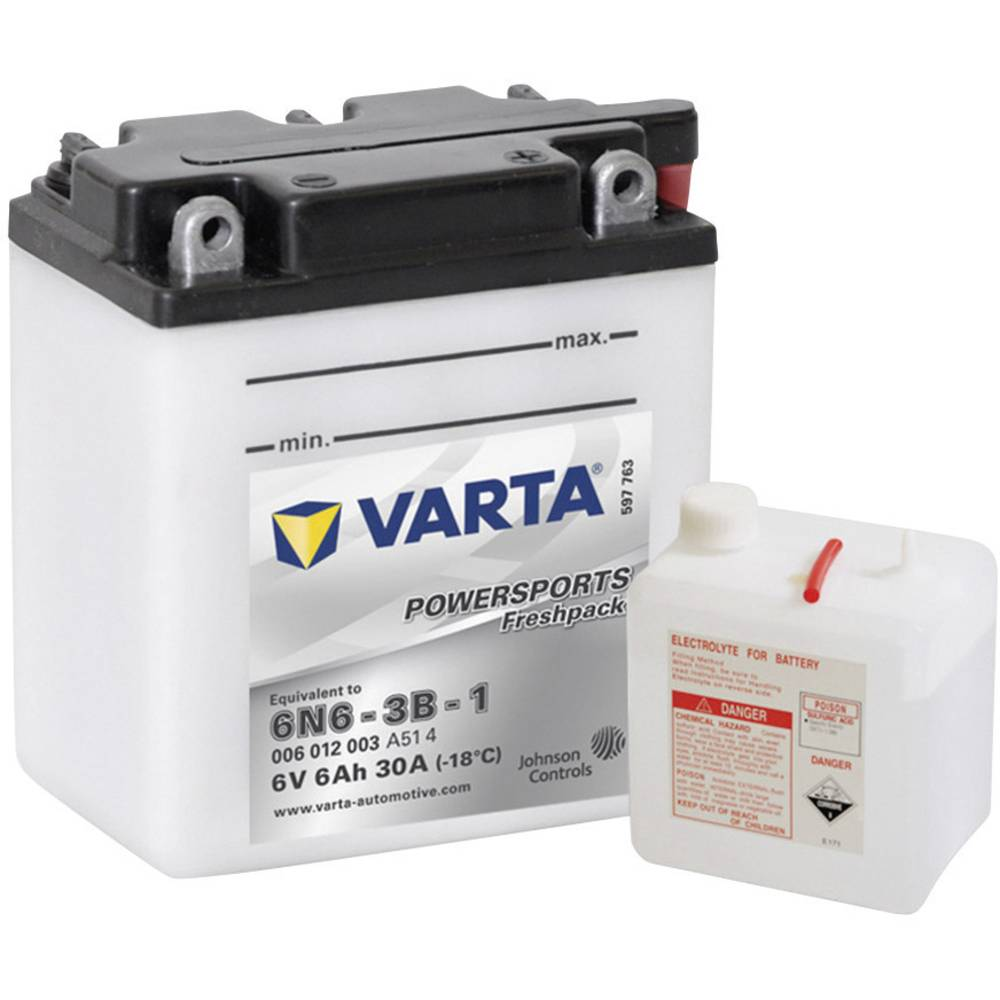 VARTA Akumulator za motorna kolesa 6N6-3B-1 006 012 003 6 V 6 Ah Y6 za motorna kolesa, skuterje, štirikolesnike, Jet Ski, motorn