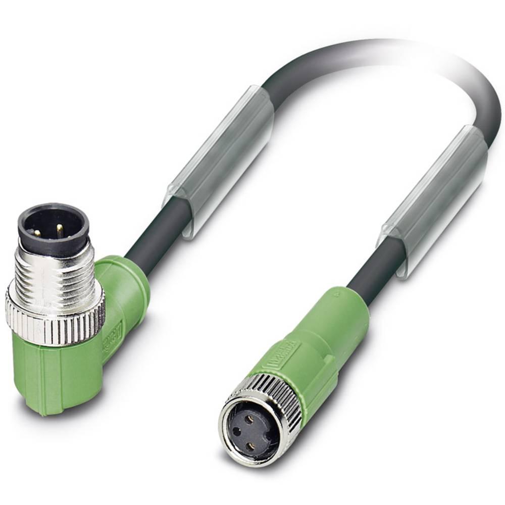 Sensor-, aktuator-stik, M8 Stik, vinklet, Tilslutning, lige 3 m Pol-tal (RJ): 3 Phoenix Contact 1668904 SAC-3P-M12MR/3,0-PUR/M 8