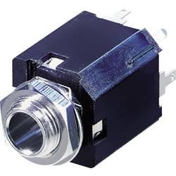 Rean AV NYS232-Priključna doza za JACK vtič, 6.35mm, vgrajena vertikalno, število polov: 3/stereo, črna, 1 kos