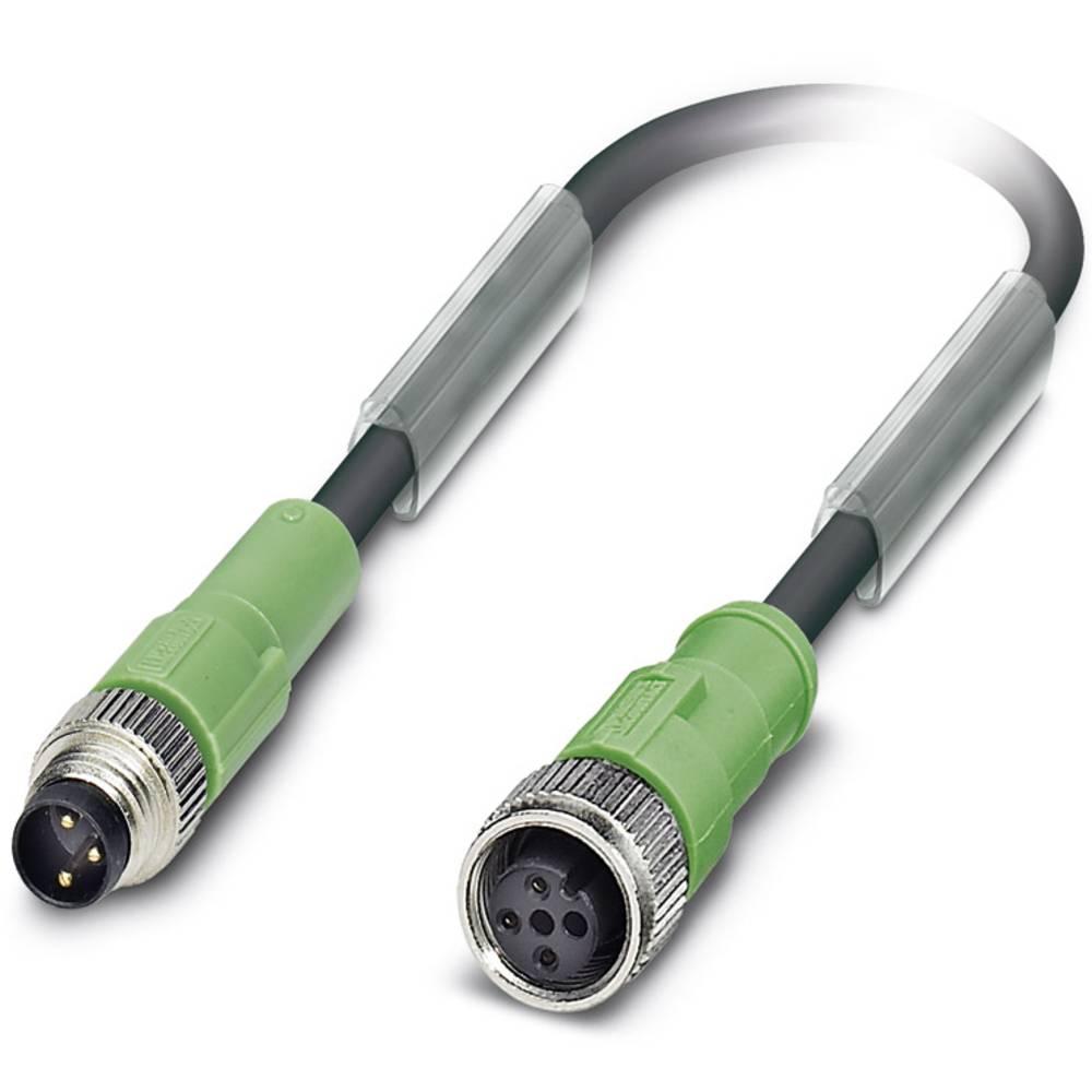 Sensor-, aktuator-stik, M12 Stik, lige, Tilslutning, lige 1.50 m Pol-tal (RJ): 3 Phoenix Contact 1682320 SAC-3P-M 8MS/1,5-PUR/M1