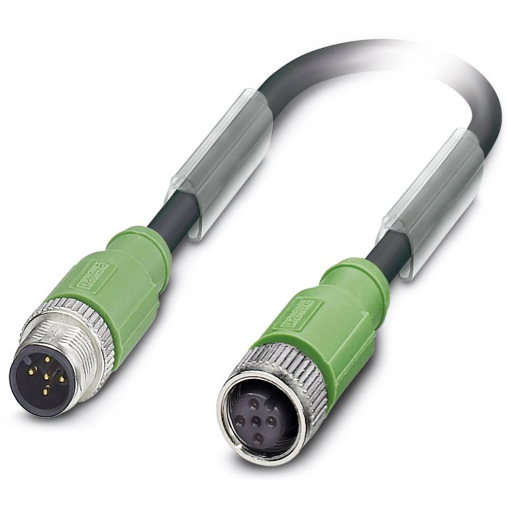 Sensor-, aktuator-stik, M12 Stik, lige, Tilslutning, lige 1.50 m Pol-tal (RJ): 5 Phoenix Contact 1500907 SAC-5P-M12MS/ 1,5-PUR/M