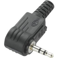 Klinken vtični konektor 2.5 mm kotni vtič št. polov: 3 stereo črne barve TRU COMPONENTS 1 kos