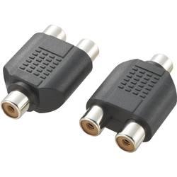 Činč Audio Y-Adapter [1x činč, ženski - 2x činč, ženski], črn