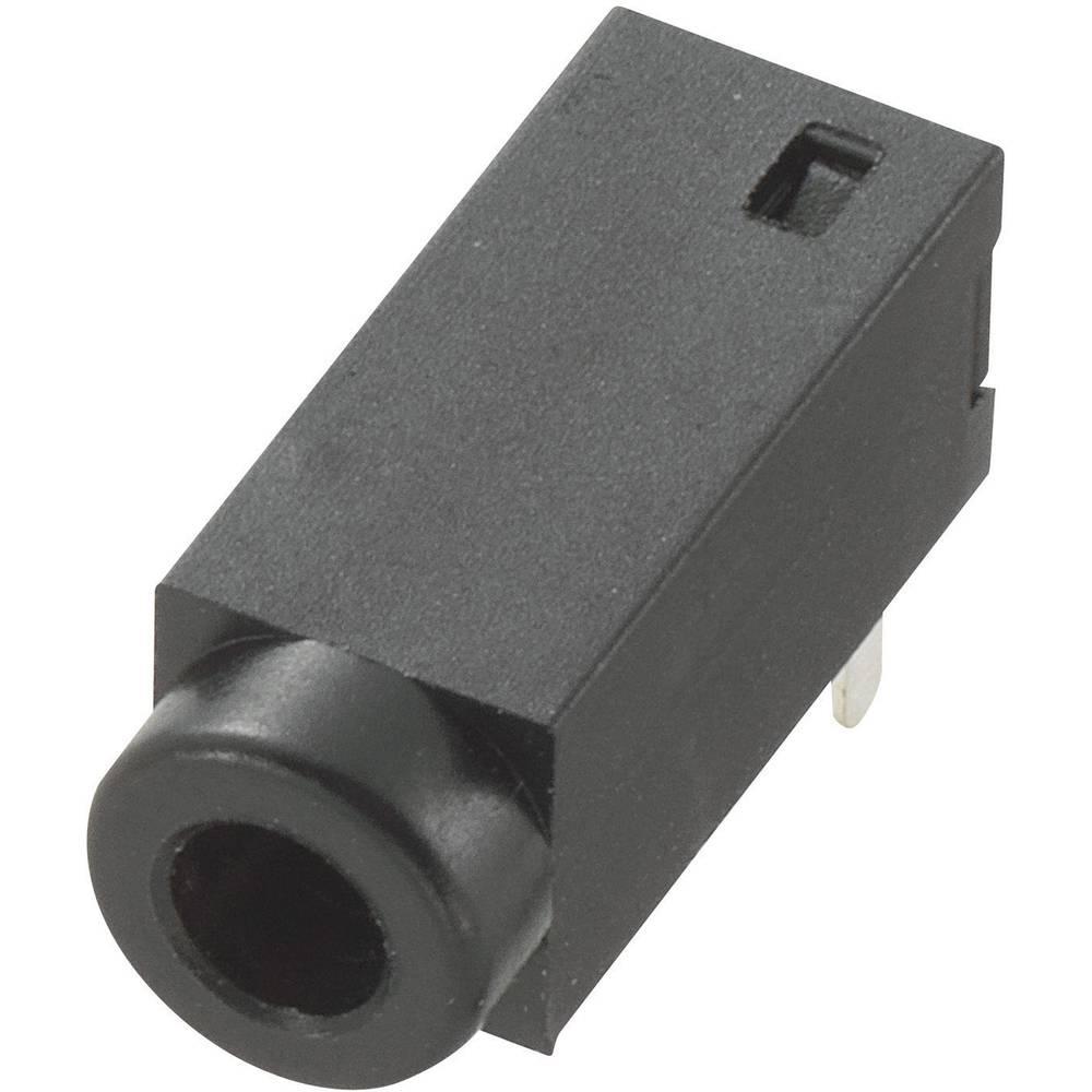 Vgradna priključna doza za JACK vtič, 2.5mm, za horizontalno vgradnjo, število polov: 2/mono, črna, 1 kos