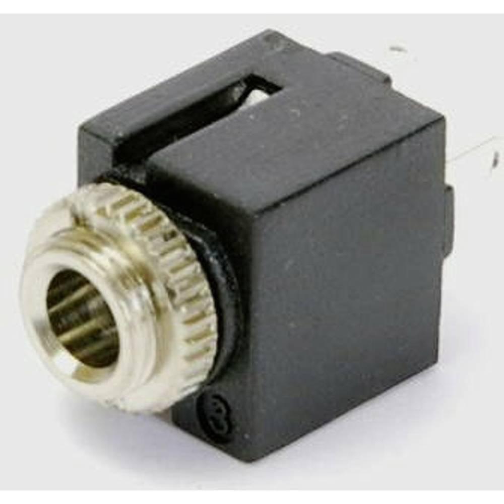 Vgradna priključna doza za JACK vtič, 3.5mm, za horizontalno vgradnjo, število polov: 3/stereo, črna, 1 kos