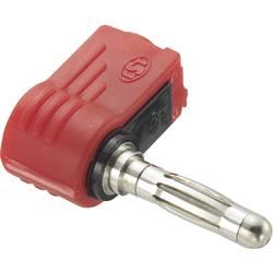 Banana konektor, vtič, kotni, premer kontakta: 4 mm rdeče barve, 1 kos