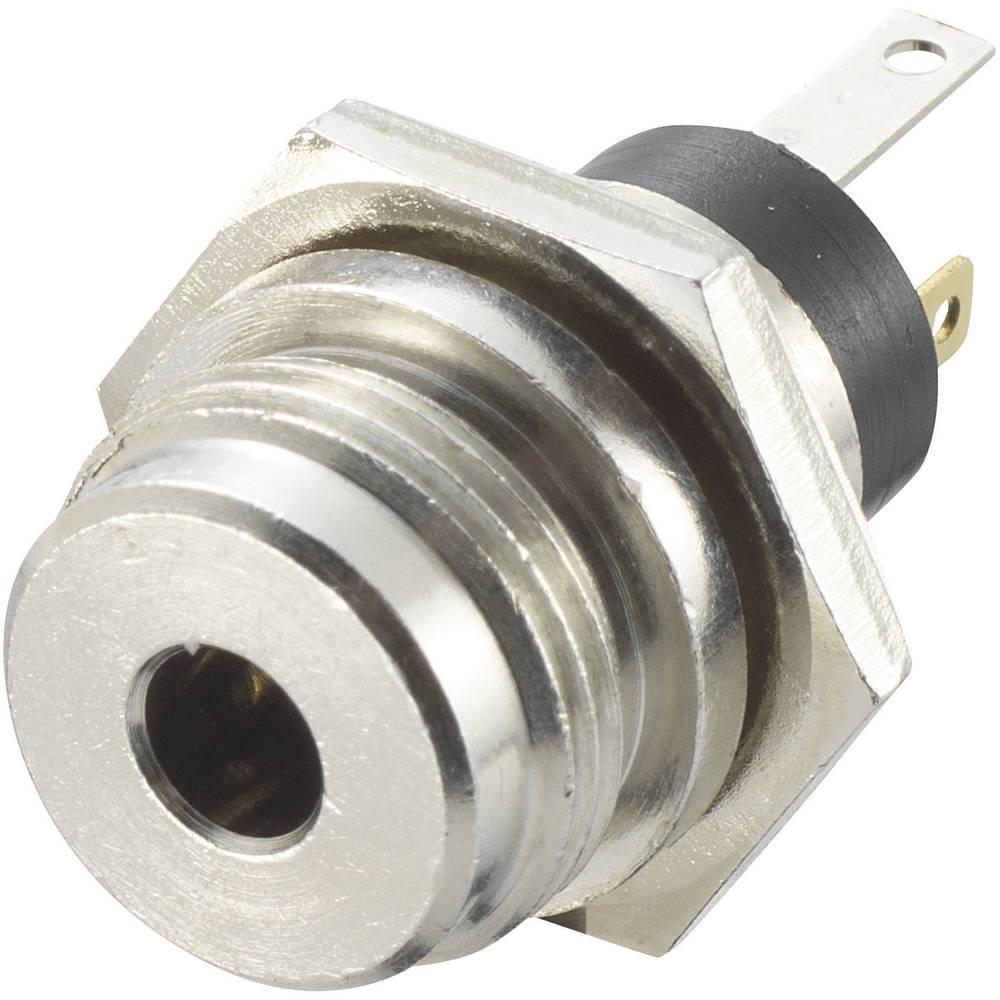 Vgradna priključna doza za JACK vtič, 3.5mm, za vertikalno vgradnjo, število polov: 3/stereo, srebrna, 1 kos