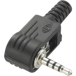 Klinken vtični konektor 2.5 mm kotni vtič, št. polov: 4 stereo črne barve TRU COMPONENTS 1 kos