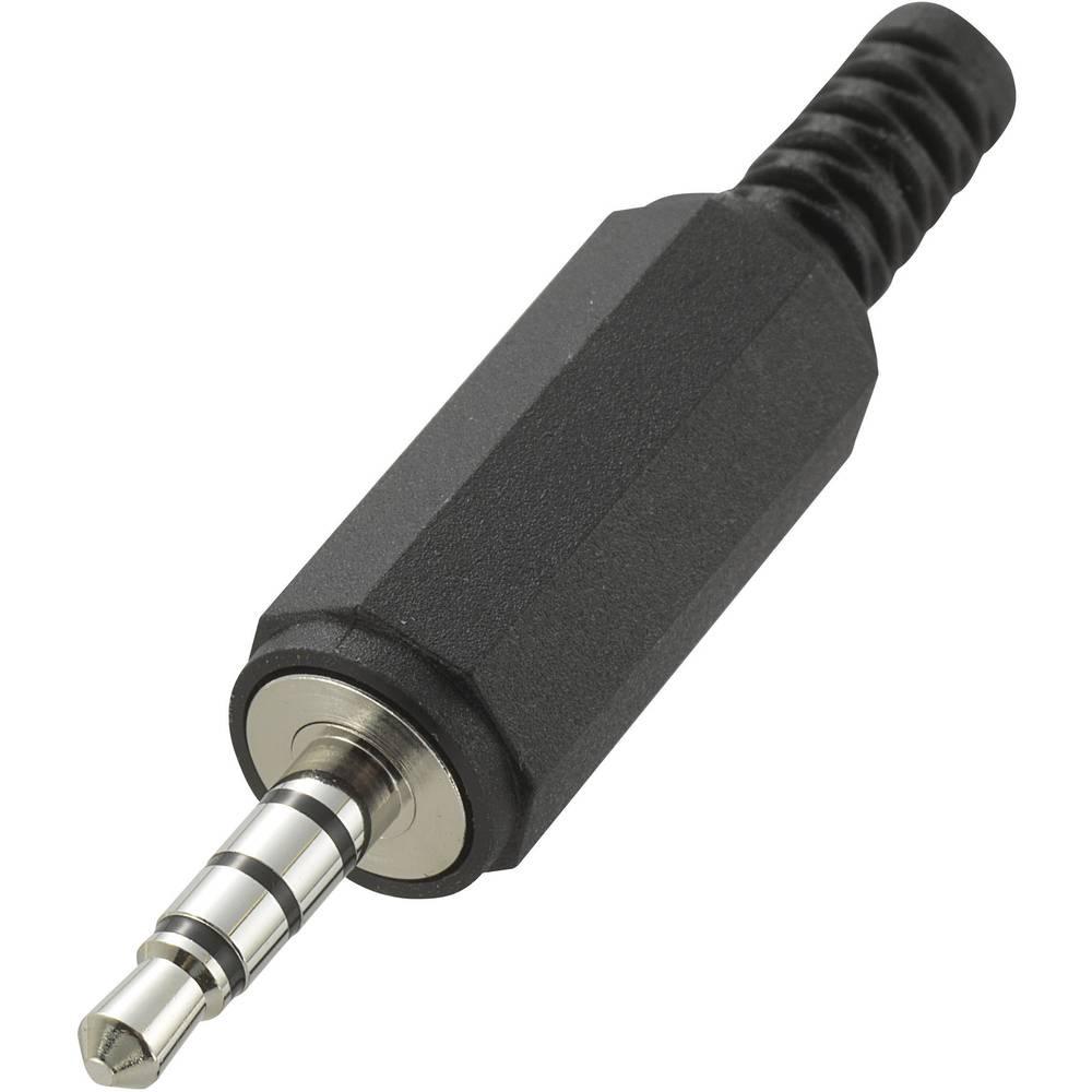 Klinken-vtični konektor, 3.5 mm vtič, raven, število polov: 4 Stereo črne barve 1 kos