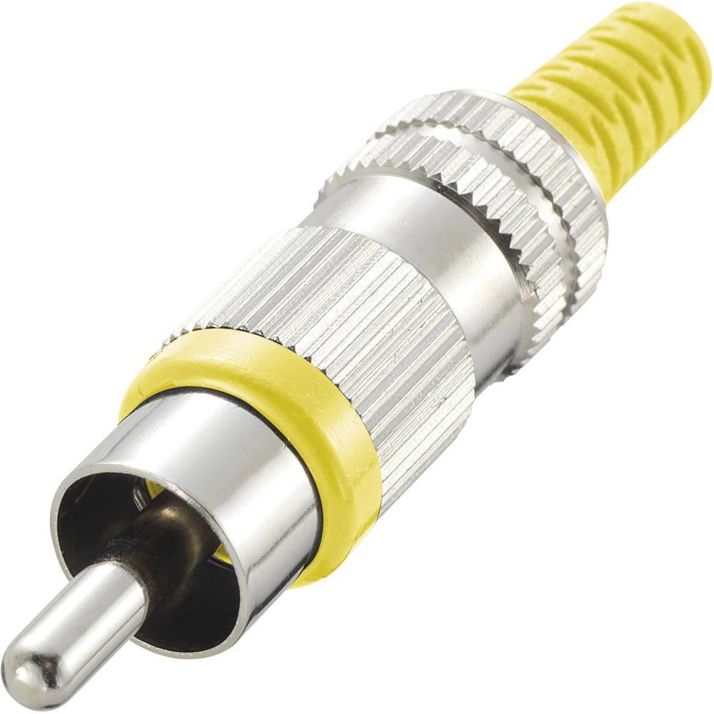 Činč konektor, moški, ravni kontakti, število polov: 2 rumen, 1 kos