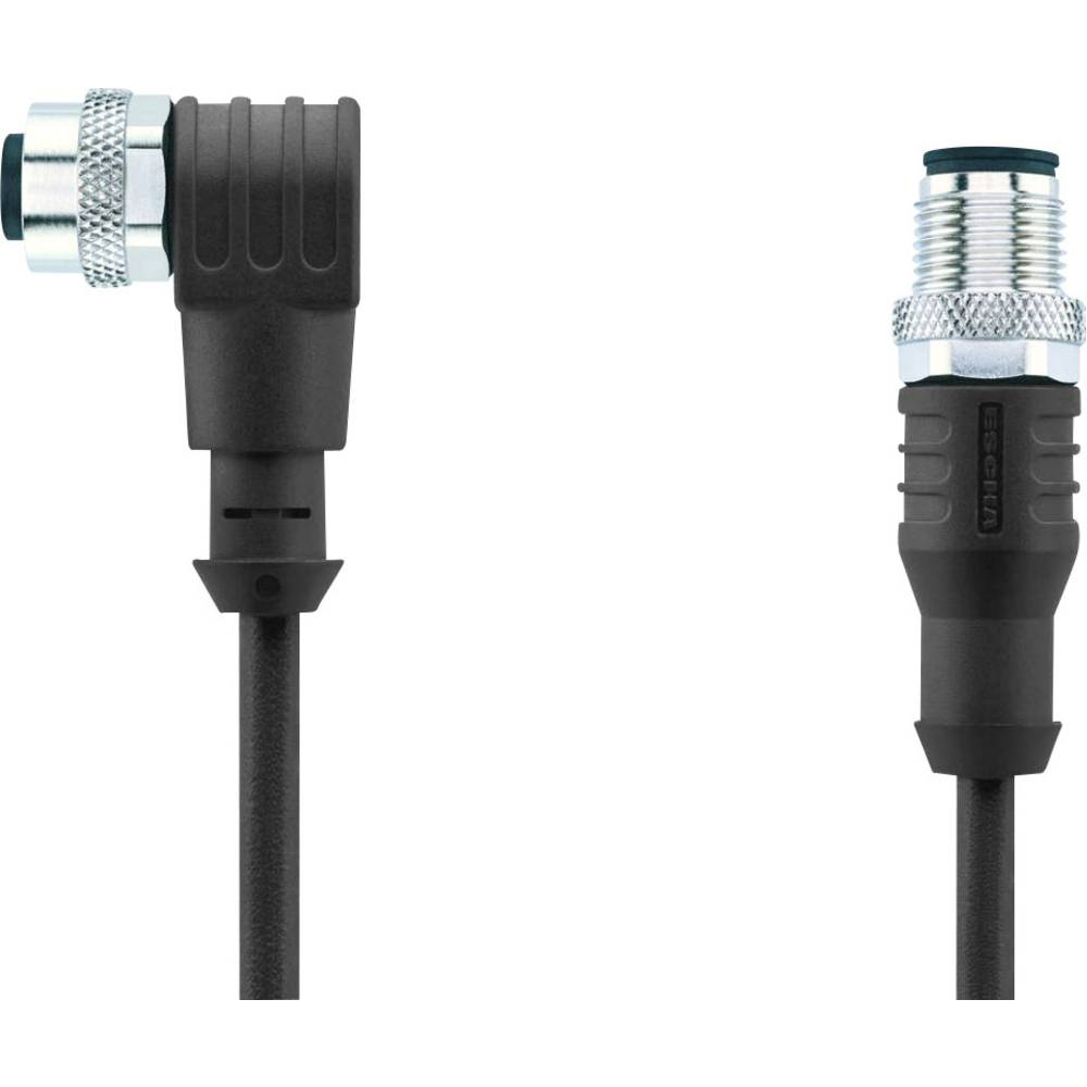 Sensor-, aktuator-stik, M12 Stik, lige, Tilslutning, vinklet 5 m Pol-tal (RJ): 3 Escha 8044039 AL-WWAK3-5-AL-WAS3/S370 1 stk