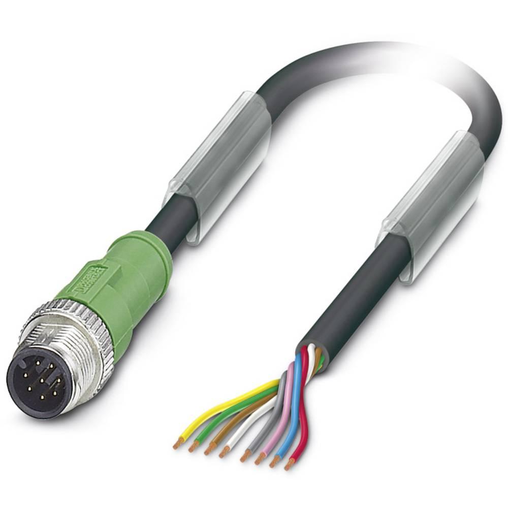 Sensor-, aktuator-stik, M12 Stik, lige 5 m Pol-tal (RJ): 8 Phoenix Contact 1522516 SAC-8P-M12MS/ 5,0-PUR 1 stk