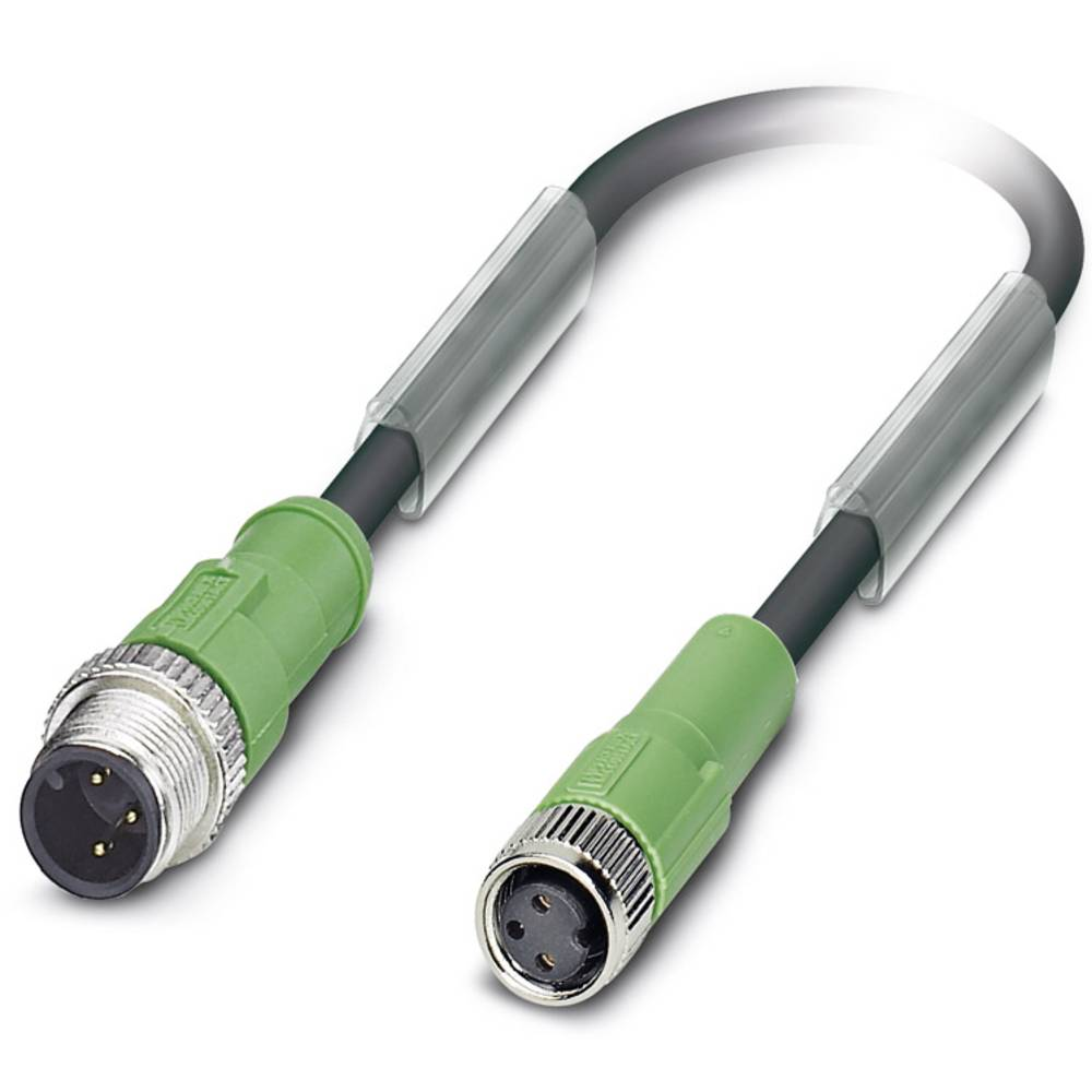 Sensor-, aktuator-stik, M8 Stik, lige, Tilslutning, lige 0.60 m Pol-tal (RJ): 3 Phoenix Contact 1668807 SAC-3P-M12MS/0,6-PUR/M 8