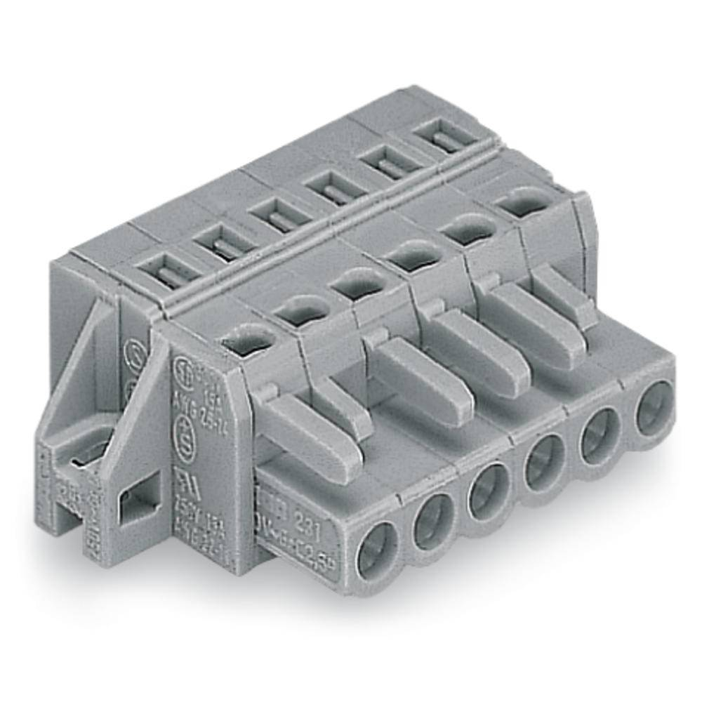 Tilslutningskabinet-kabel 231 (value.1360880) Samlet antal poler 6 WAGO 231-106/031-000 Rastermål: 5 mm 50 stk